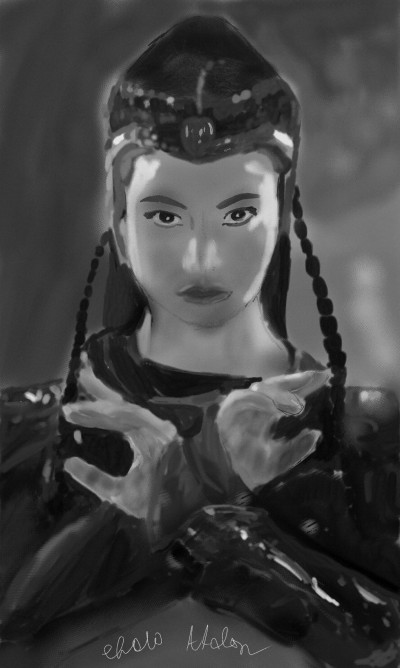 Flame Princess (Black and White Version)  | Choloaldon | Digital Drawing | PENUP