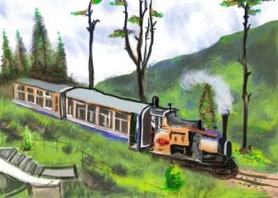 Train p***es thru beautiful mountain scenery. | S.Acharya | Digital Drawing | PENUP