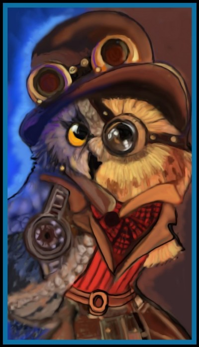Owl with a steam punk hat by K.E. Ref.used | katherineeroach | Digital Drawing | PENUP