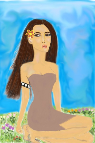 The Lady and the Flower Field | Nessarocks09 | Digital Drawing | PENUP