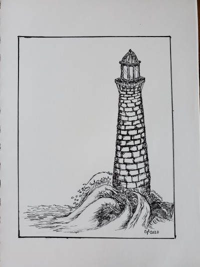 Lighthouse (Ink drawing) | cici | Digital Drawing | PENUP