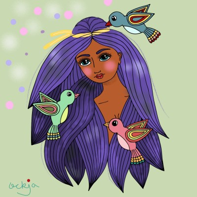 A bird-loving girl♡ | ockja | Digital Drawing | PENUP