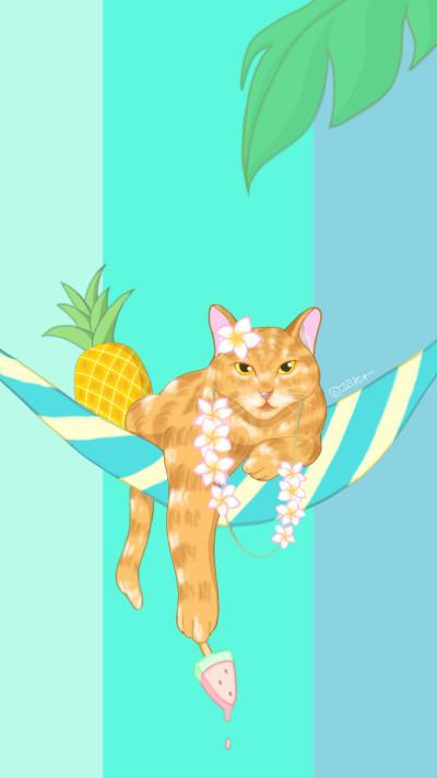 Hawaiian cat   greeda   Digital Drawing   PENUP