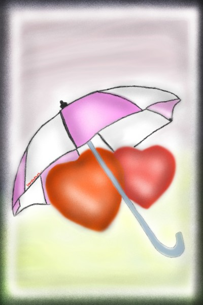 Two hearts together in the umbrella | Venkatesh | Digital Drawing | PENUP