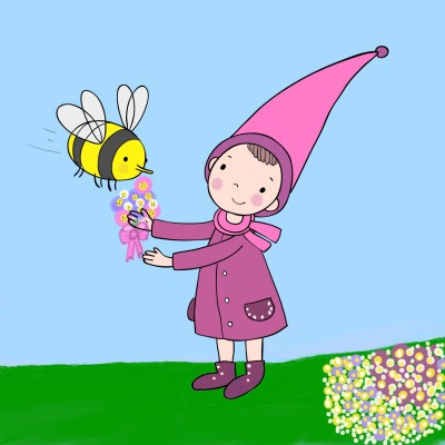 Girl & Bee | Trish | Digital Drawing | PENUP