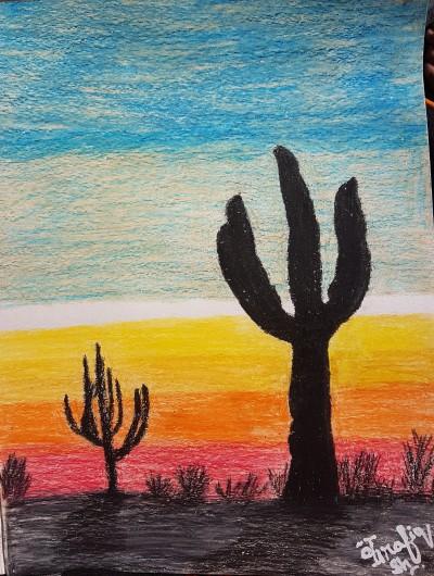 sunset in a desert | IqraShafiq | Digital Drawing | PENUP