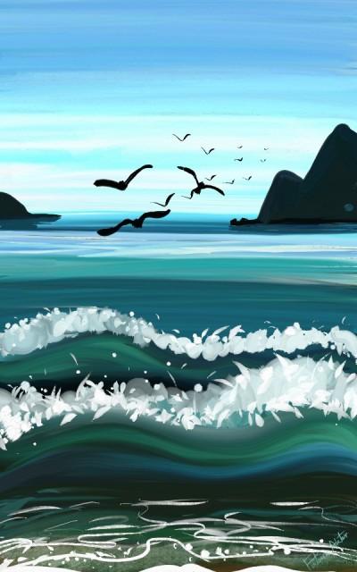 birds over waves   FatemaMusharrof   Digital Drawing   PENUP