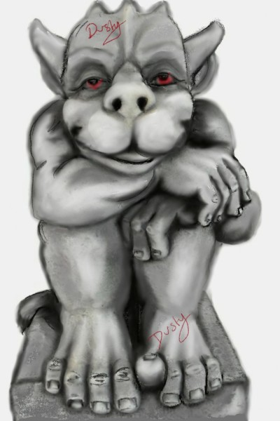 gargoyle in greys and red | dusty | Digital Drawing | PENUP