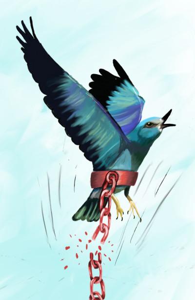 FREEDOM..bird breaking chains  | Zainab | Digital Drawing | PENUP