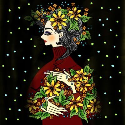 꽃을든여인   sera   Digital Drawing   PENUP