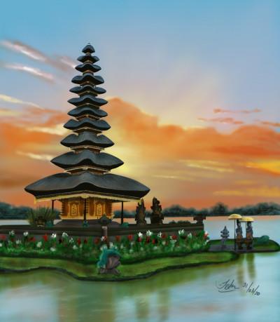 Pura Ulun Danu Bratan (Water Temple) | Kuas | Digital Drawing | PENUP
