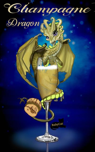 Champagne Dragon | Babycat5 | Digital Drawing | PENUP