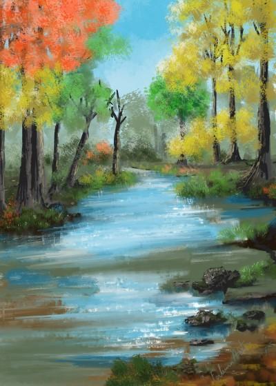 autumn river  | FatemaMusharrof | Digital Drawing | PENUP
