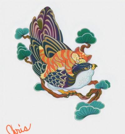 kitty on a bird | Chris | Digital Drawing | PENUP