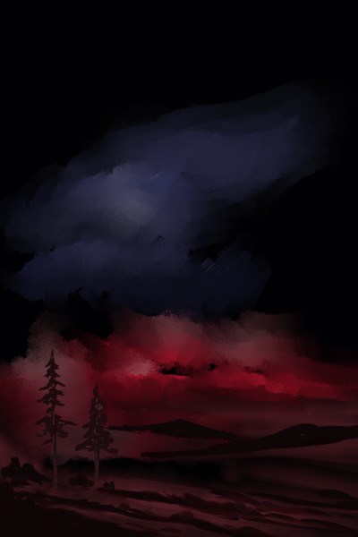 Night scenery with reddish sky | AntoineKhanji | Digital Drawing | PENUP