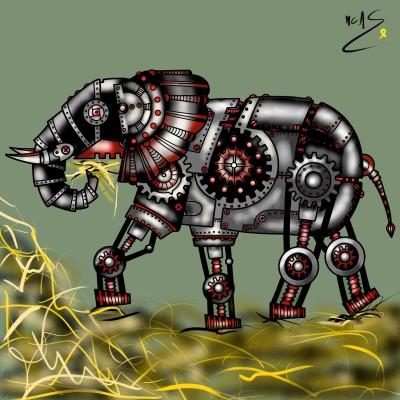 Elefant mecànic menjant palla    Carme   Digital Drawing   PENUP