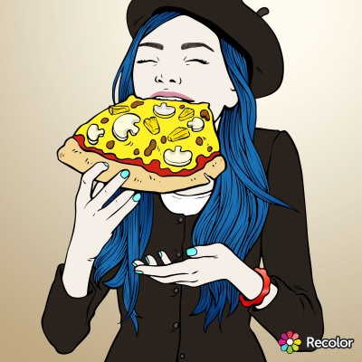 long blue haired pizza eater | Zenovia | Digital Drawing | PENUP