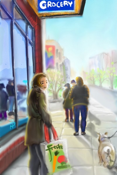social distancing & grocery shopping    Nokhong   Digital Drawing   PENUP