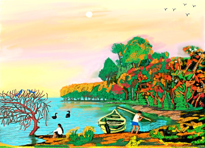 Fishing by the riverside | sulakshana | Digital Drawing | PENUP