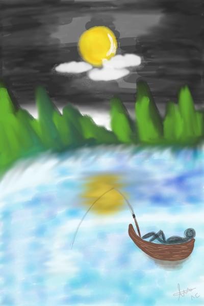 peaceful night fishing | DPR_gang | Digital Drawing | PENUP