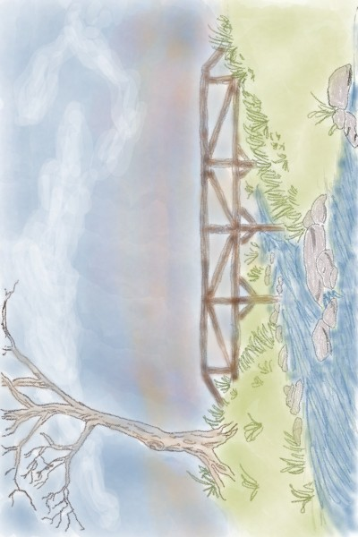 Bridge..River..Tree | NikNak | Digital Drawing | PENUP