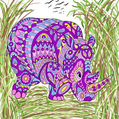 Rhinoceros in grasses  | Trish | Digital Drawing | PENUP