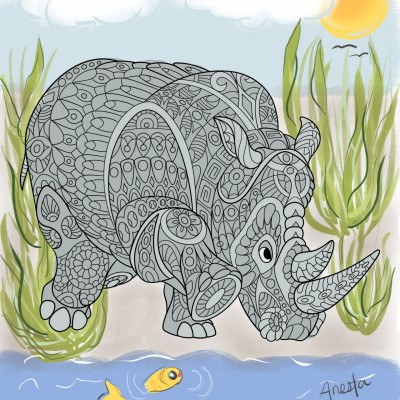 Save the Rhino   Anesta   Digital Drawing   PENUP