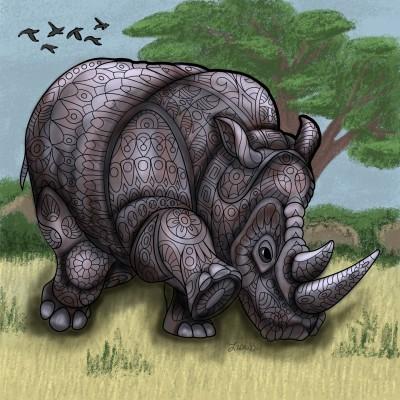 African Rhino | LisaBme | Digital Drawing | PENUP