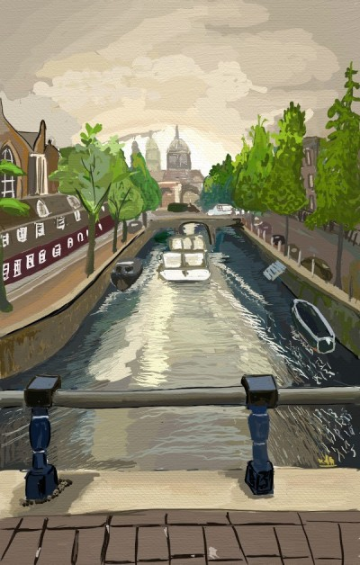 Amsterdam  Amstel River canal  | tinie | Digital Drawing | PENUP