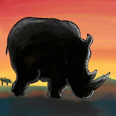 Rhino & sunset | Lau | Digital Drawing | PENUP