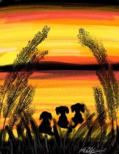 Beagles in the sunset | mburdick | Digital Drawing | PENUP