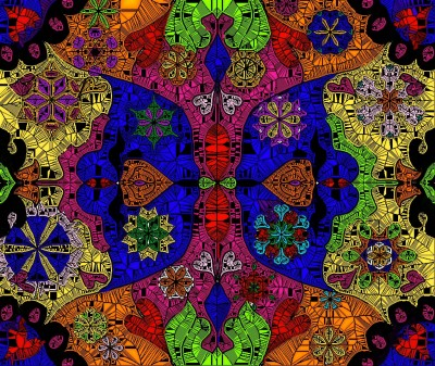 Stained Glass Effect Over My Retro Doodles  | Charldia | Digital Drawing | PENUP