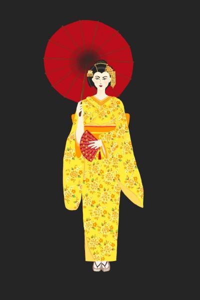Yellow Kimono  | Diana | Digital Drawing | PENUP