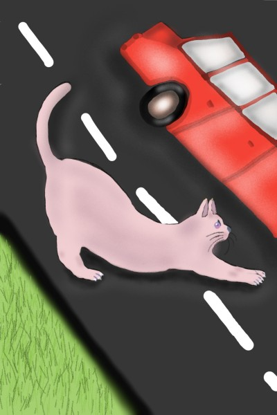 A cat goes on the road in search of mice | Venkatesh | Digital Drawing | PENUP