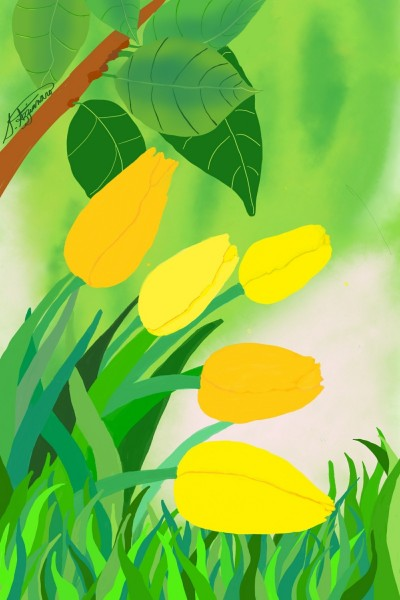 Yellow tulips | snazz | Digital Drawing | PENUP