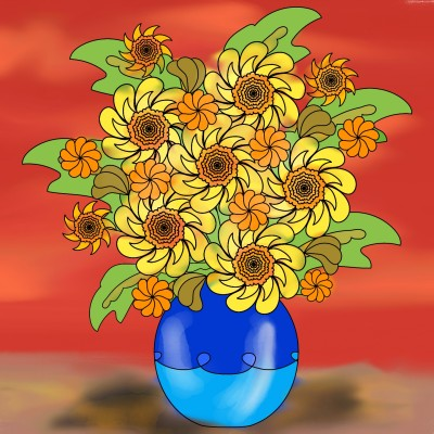 Flowers in blue pot | KarenC | Digital Drawing | PENUP