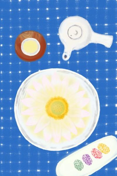 연꽃잎차와 다과 Flower petals tea and refreshments   sunny   Digital Drawing   PENUP