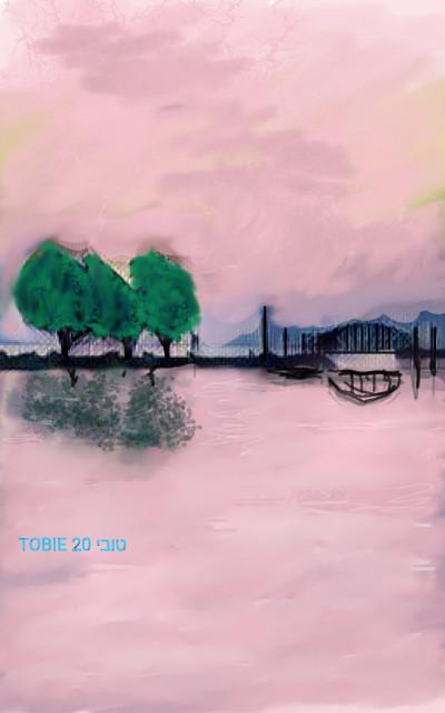 BRIDGE OVER PINK WATER    Tobie.ISR   Digital Drawing   PENUP