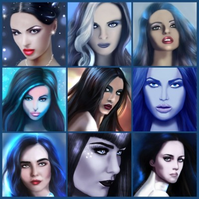 Blue/black hair potraits | SummerKaz | Digital Drawing | PENUP