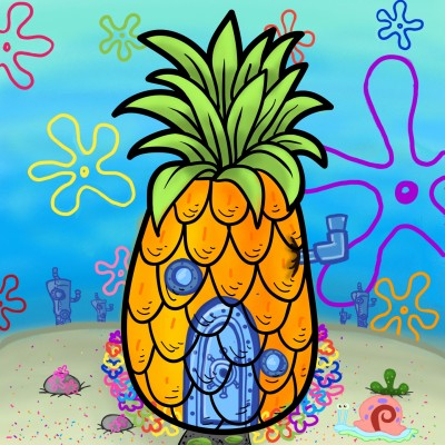 Who lives in a pineapple under the sea?  | sydneykay | Digital Drawing | PENUP