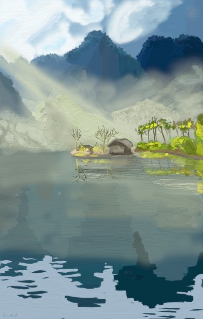 a river and  a hut | tinie | Digital Drawing | PENUP