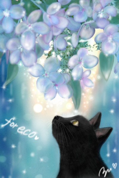 Thank you friend ❤for eco/ flower and cat | azu | Digital Drawing | PENUP