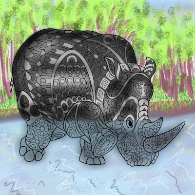 A rhino beast descends into the river | Venkatesh | Digital Drawing | PENUP