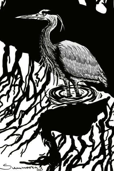Crane in a river | SummerKaz | Digital Drawing | PENUP
