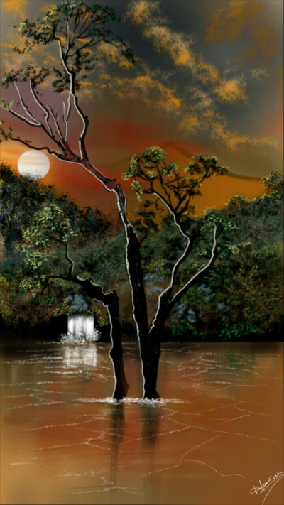 Sunset on the river  | Abex | Digital Drawing | PENUP