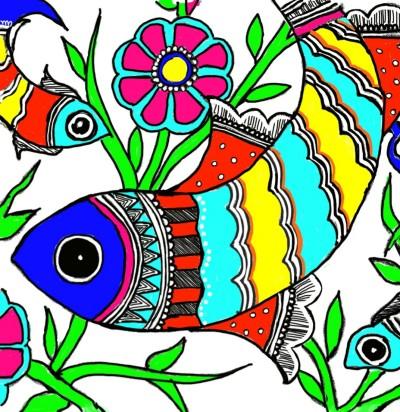 Fish (Madhubani painting) | arpu | Digital Drawing | PENUP