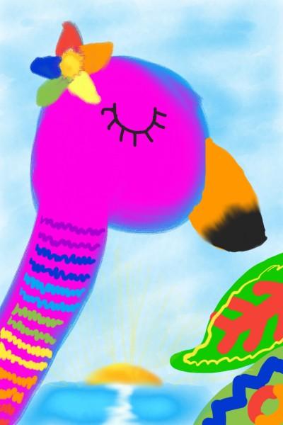 The Rainbow Sunset Flamingo   Calistha   Digital Drawing   PENUP