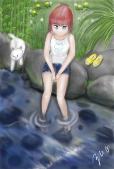 멍때리기..  river play   azu   Digital Drawing   PENUP
