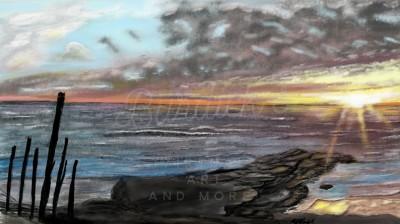 ocean scene and sunset  | mburdick | Digital Drawing | PENUP
