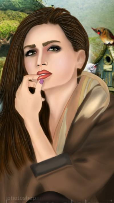 Portrait Digital Drawing | HallatAlqamar | PENUP